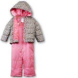 Girls Carters Pink 2 Pc Winter Jacket & Snow Bibs